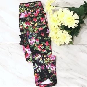 Workout Yoga Leggings Cropped Printed Floral XS S